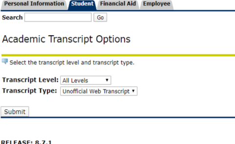 Academic Transcript Screen OneACCS